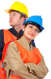 Couple of construction workers Stock Photography
