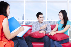 Couple is consulting to psychologist Stock Photos