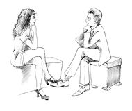 Couple conversation. Body language: woman and man conversation royalty free illustration