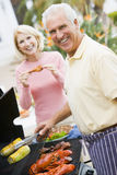 Couple Cooking On A Barbeque Stock Photography