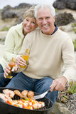 Couple Cooking Barbeque On A Beach Royalty Free Stock Images