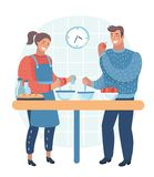 Couple cooking healthy meal. Couple cooking together. royalty free illustration