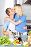 Couple cooking at home Royalty Free Stock Images