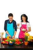 Couple cooking together Royalty Free Stock Images
