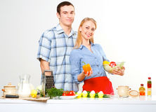 Couple of cooking together Royalty Free Stock Photography