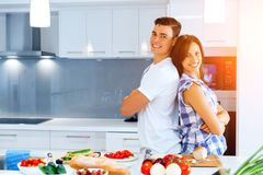 Couple Cooking Together At Home Royalty Free Stock Photography