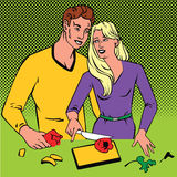 Couple cooking together  pop art comics retro style with Halftone. Linear style illustration art work Royalty Free Stock Photo