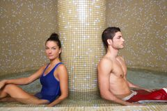 Couple in cool spa water round pool after sauna Stock Photo