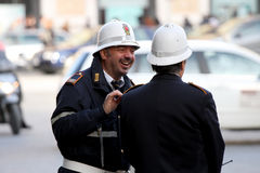 Checkpoint security, couple of cops (Rome - Italy) Stock Image