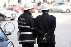 Checkpoint security, couple of cops (Rome - Italy) Stock Photography