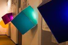 A couple corolful luminous 3D cubes indoor stock photo
