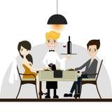 Couple costumer going to dinner at Restaurant,vector / Illustration stock images