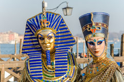 Couple in Costumes at the Carnival of Venice royalty free stock image