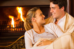 Couple couch home Royalty Free Stock Images