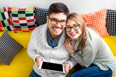 Couple on the couch at home Stock Photo