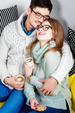 Couple on the couch at home Royalty Free Stock Photos