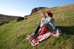Couple on country picnic Stock Photos