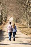Couple country road. Back view of lovely young couple walking on country road in fall Royalty Free Stock Photo