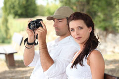 Couple  in the countryside Stock Images
