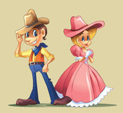 Couple with cowboy costume Stock Image