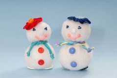 Couple of creative  snowmans Stock Photos