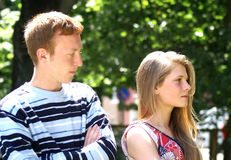 Couple crisis. Relationship difficulties: young couple having a fight Stock Photography