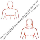 Couple Crisis Barbed Wire Royalty Free Stock Image