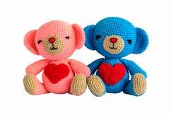 Couple crochet bear at handmade. Isolated on white background Stock Image