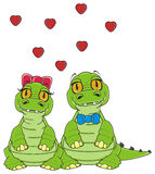 Couple of crocodiles in love Royalty Free Stock Photo