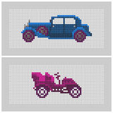 Couple of cross stitch textured old-timer cars. Couple of colorful x-stitch textured old-timer car illustrations Royalty Free Stock Photo