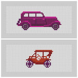 Couple of cross stitch textured old-timer cars. Couple of colorful x-stitch textured old-timer car illustrations Royalty Free Stock Photos