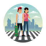 couple crossing street city background vector illustration