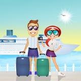 Couple on cruise. Illustration of couple on cruise Royalty Free Stock Photos