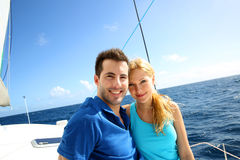 Couple on a cruising day stock images