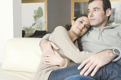 Couple Cuddling at home Royalty Free Stock Photo