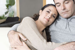 Couple Cuddling at home Royalty Free Stock Image