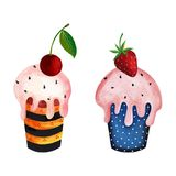 Couple of cupcakes. Artistic work. Acrylic and watercolors on paper Royalty Free Stock Image