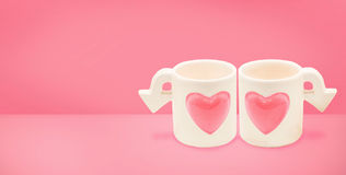 Couple cupid cup of Love on Valentine`s Day concept.Minimalism Stock Photo