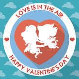 Couple of Cupids in Flat Design for Valentine's Day, Vector Illustration Stock Images