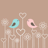 Couple of cute birds with flowers and hearts Royalty Free Stock Image