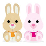 Couple Of Cute Cartoon Characters Isolated Stock Images