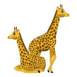 Couple of cute cartoon giraffes stock photo