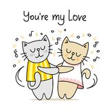 Couple of cute cats dancing with classic music. You are my love cartoon vector flat animal illustration vector illustration