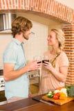 couple cute enjoying glass wine Стоковая Фотография RF