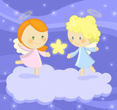 Couple of cute little angels holding a bright star. Illustration about 2 cute little angels standing on a cloud, holding a bright star on a blu starry sky Stock Photography