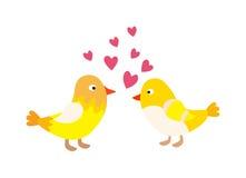 Couple of cute love birds nature sweet comic cartoon vector. Stock Photography
