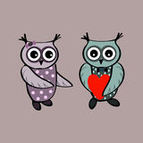 Couple cute owl love heart Stock Photography