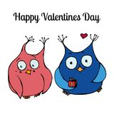 Couple of Cute Owls, Love Card Design. Vector Illustration royalty free illustration