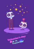 Couple cute panda on ladder catch the star.  Idea Stock Photos
