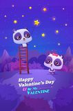 Couple cute panda on ladder catch the star.  Idea Royalty Free Stock Image